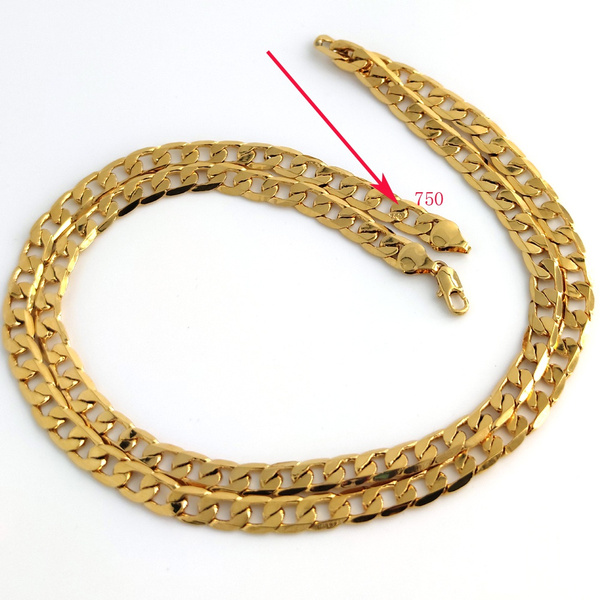 cubanchainnecklace, yellow gold, Chain Necklace, 750