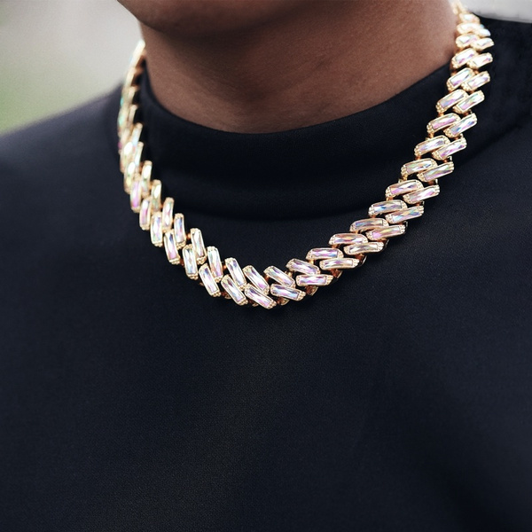 Chain Necklace, hip hop jewelry, icedoutchain, prongcubanlink
