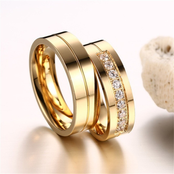 Couple Rings, Steel, DIAMOND, Jewelry