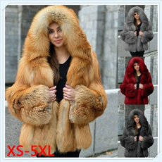 hooded, fur, Winter, foxfurcoat