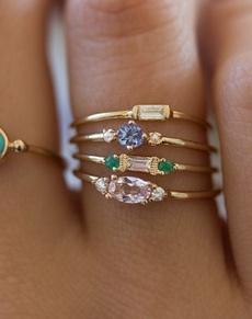 goldplated, yellow gold, DIAMOND, zirconring