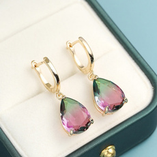 rainbow, proposalearring, Dangle Earring, gold