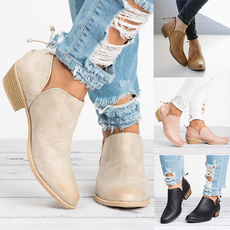 ankle boots, Shorts, thickheel, springboot
