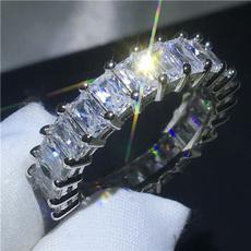 Sterling, crystal ring, Princess, wedding ring