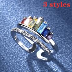rainbow, Fashion, Princess, 925 silver rings