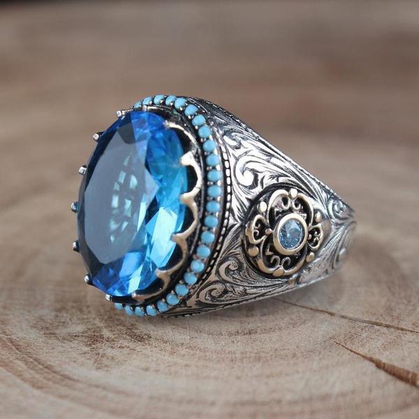 Sterling, ringsformen, Turquoise, Fashion