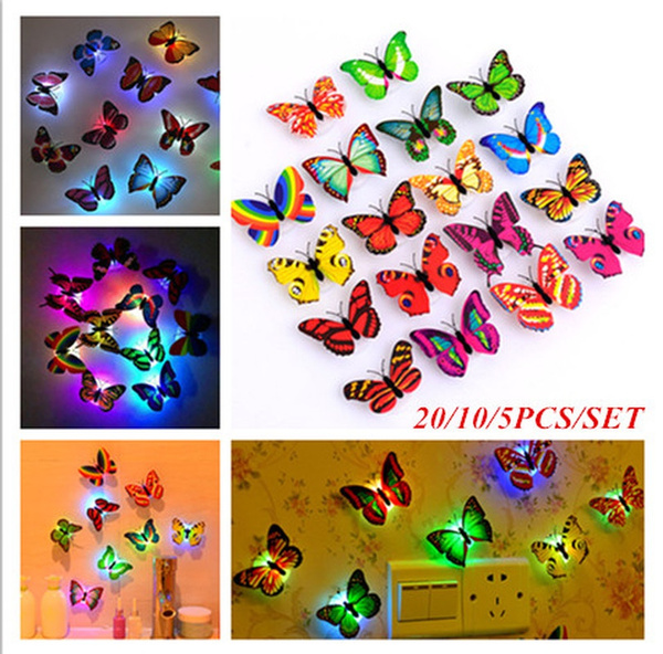 butterfly, ledbutterfly, stickersmural, Night Light