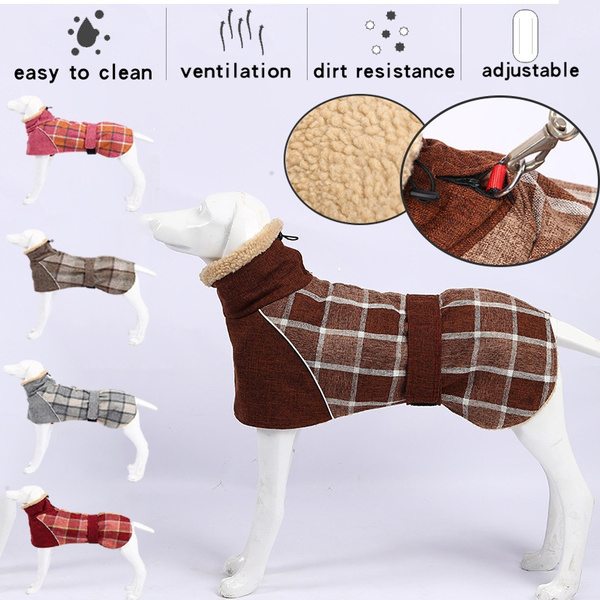 Pet Dog Clothes, plaid, dog coat, Winter