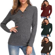 Fashion, Winter, solidcolorsweater, pullover sweater