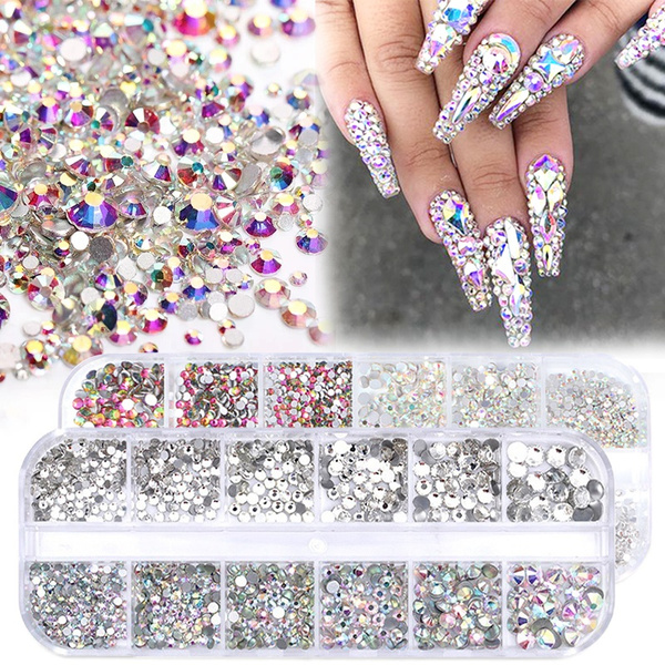 art, nail tips, nailrhinestone, Colorful
