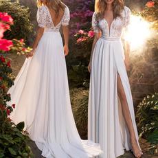 gowns, Lace, Deep V-neck Dress, Dress