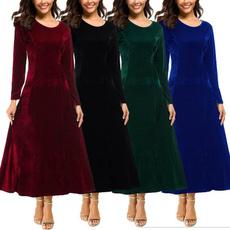 velvet, women dresses, long dress, Evening Dress