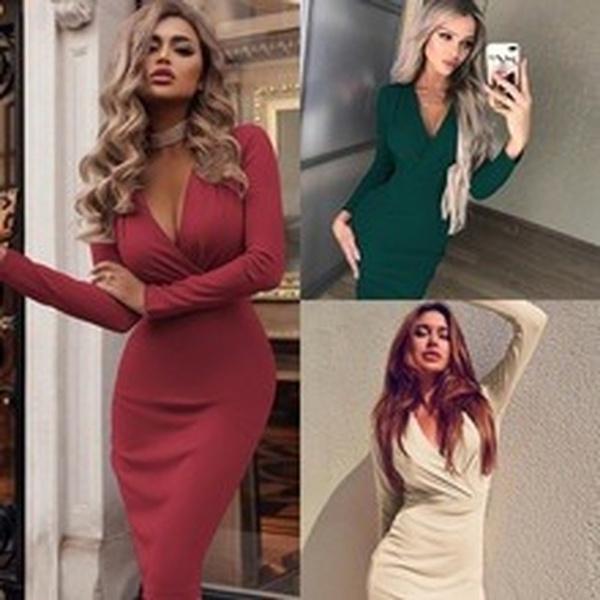 Deep V-Neck, Fashion, Winter, Deep V-neck Dress