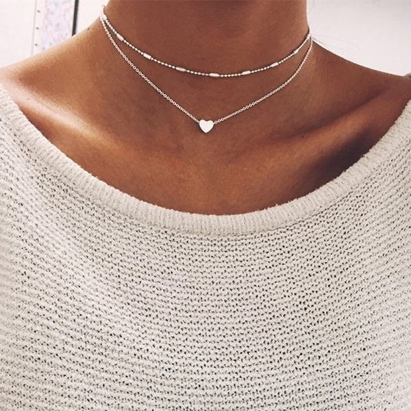 Heart, Chain Necklace, gold, Chain