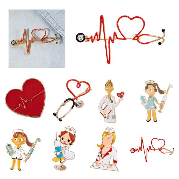 Heart, Love, enamel, Pins