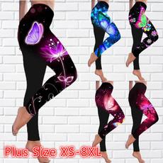 butterfly, Plus Size, skinny pants, Women Leggings