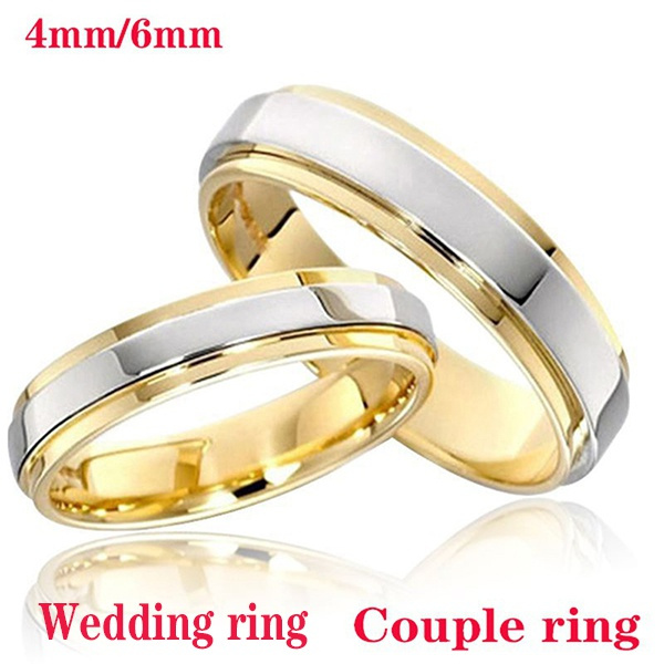 Couple Rings, Steel, Jewelry, 18k gold ring