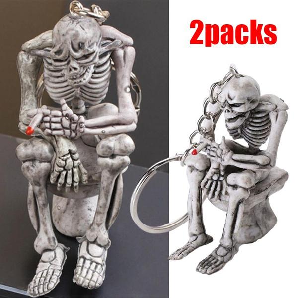 skeletonsitontoilet, skullkeyring, Key Chain, Skeleton