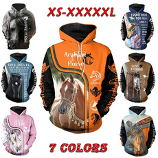 3D hoodies, horse, printed sweatshirt, Hoodies
