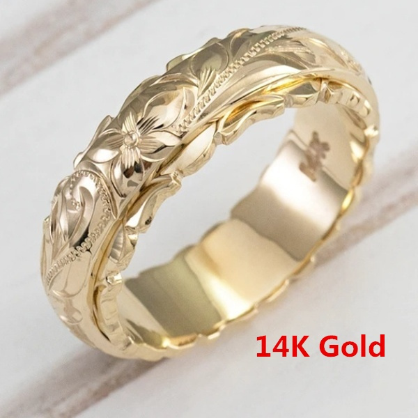 Flowers, Jewelry, gold, 14kring