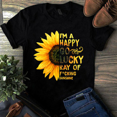 Funny T Shirt, Sunflowers, roundnecktop, Slim Fit