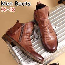 casual shoes, biker, Plus Size, Leather Boots