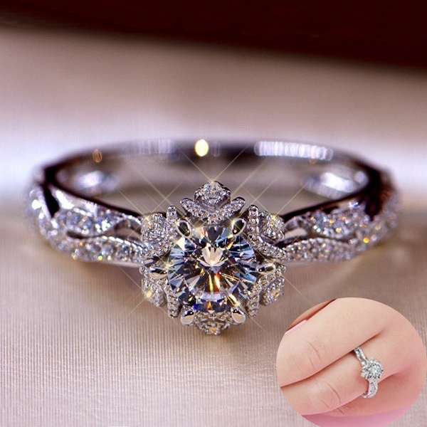 Sterling, Flowers, wedding ring, Diamond Ring