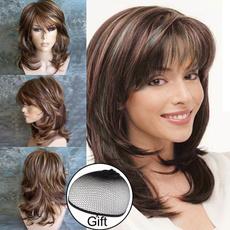 wig, sidebangwig, Medium, brown