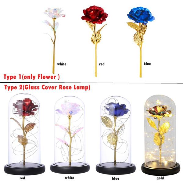 led, Colorful, glasscoverlamp, rosenightlight