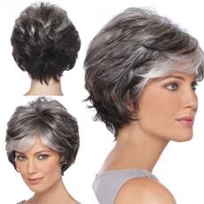 wig, Shorts, heatresistantwig, greywig