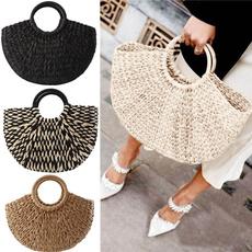 semicircle, women bags, wovenbasket, Handmade