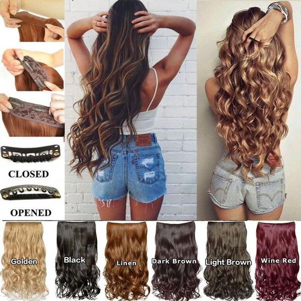 wig, brown, Head, clip in hair extensions
