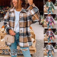 plaid shirt, woolen coat, Plus Size, Spring/Autumn