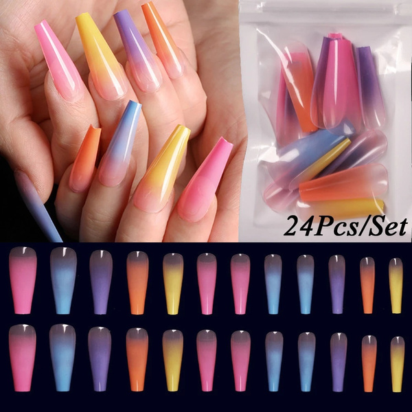 rainbow, acrylic nails, nail tips, Beauty