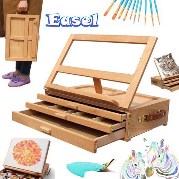 Box, easel, paintbrush, sketchboard