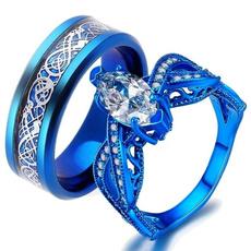 Sterling, Blues, DIAMOND, Women Ring