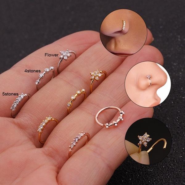 Flowers, Jewelry, gold, nosehoop