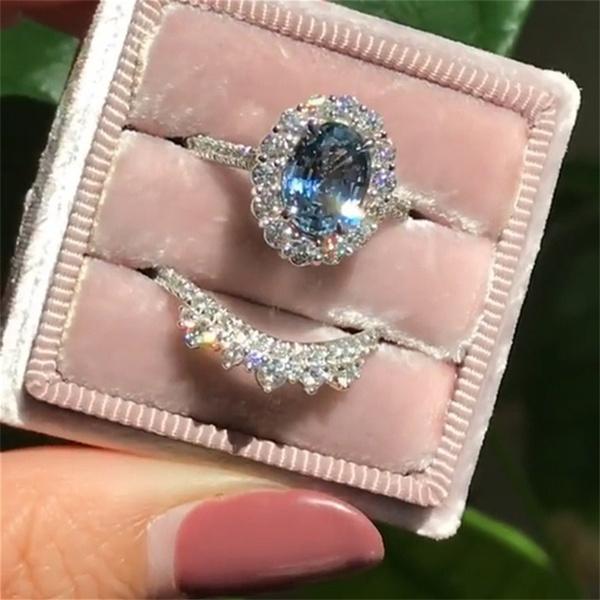 Sterling, DIAMOND, Engagement Ring, aquamarinering