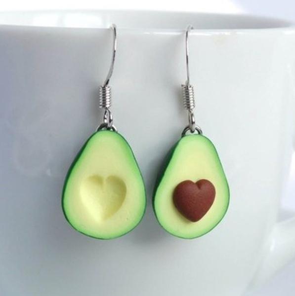 Heart, Dangle Earring, avocadoearring, asymmetric