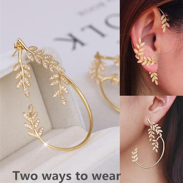 leaf, Jewelry, engagementweddingearring, retro earrings