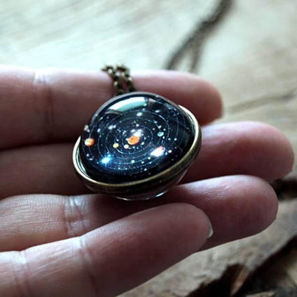 solarsystem, Necklace, Glass, glasscabochon
