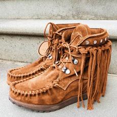 ankle boots, casualshoeswomen, Tassels, Suede