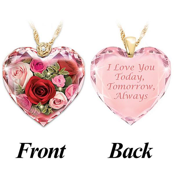 Heart, crystal pendant, 18k gold, Love