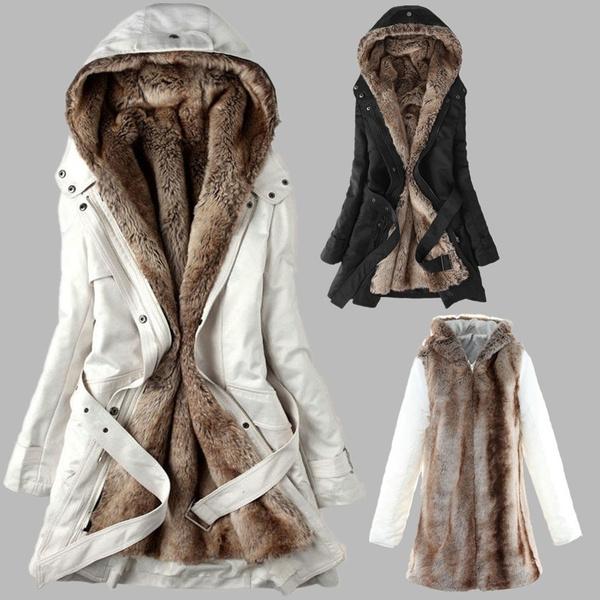 Winter Faux Fur Lining Coats Warm, Ladies Winter Coats Fur Lined