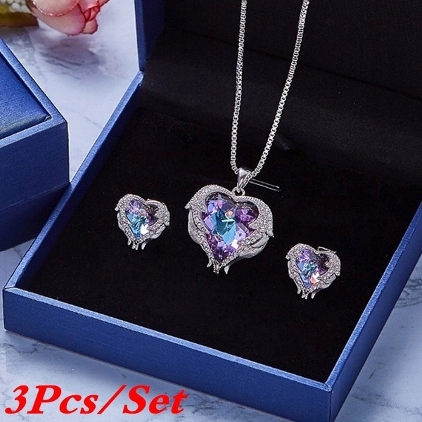 Blues, Heart, crystal pendant, Jewelry