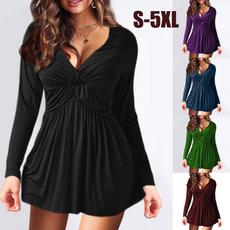 blouse, Deep V-Neck, Plus Size, ruffle