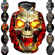 Funny, Goth, skull, 3D hoodies