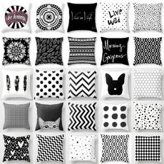 case, geometricpillowcover, bedpillowcasedecor, blackwhitecushioncover
