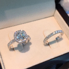 Sterling, DIAMOND, 925 silver rings, Engagement Ring
