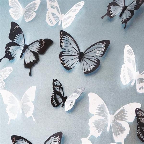 butterfly, decoration, black, wall sticker